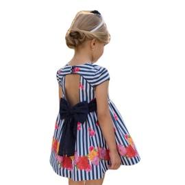 Vestido Dolce Petit Niña rayas espalda abierta