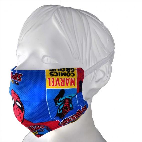 Mascarilla infantil Spiderman. Tapabocas reutilizable tela