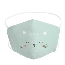 Mascarila infantil higiénica con filtro extraíble gatito
