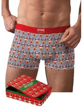 Bóxer Hombre Diver Renos Navidad Algodón