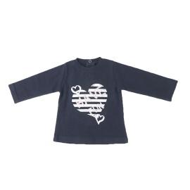 Camiseta Baby-Bol Niña Corazón Rayas