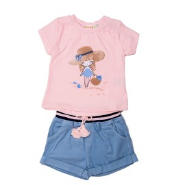 Camiseta y short tejano niña baby-bol