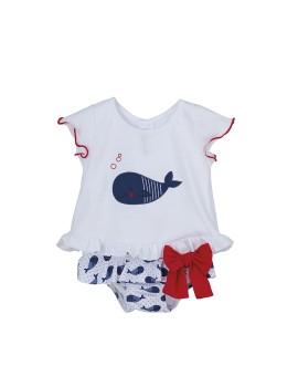 Conjunto braga y camiseta Calamaro con ballenas para bebé