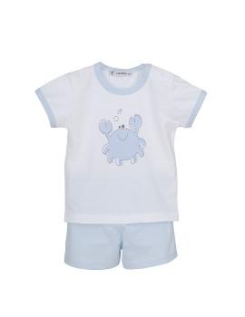 Pijama corto bebé de Calamaro con cangrejo de algodón