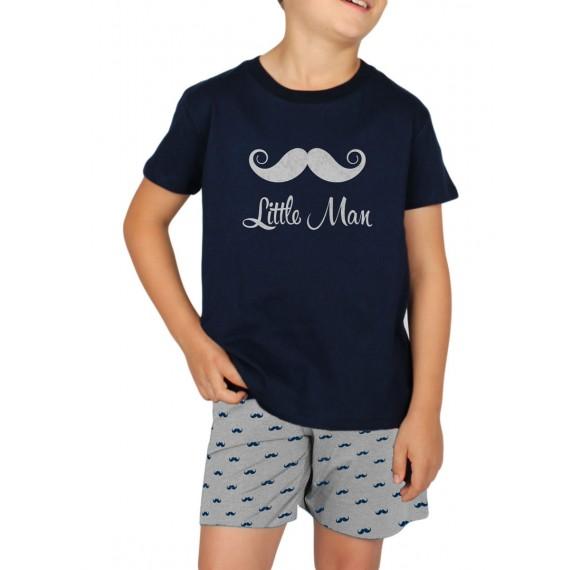 Pijama Admas Niño Bigote Algodón Verano