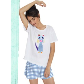 Pijama Mujer Santoro Gato Algodón Verano
