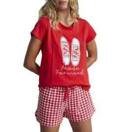 Pijama corto de mujer de Admas con print de zapatillas.