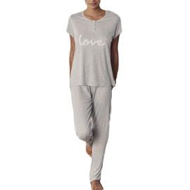 Pijama Admas mujer de manga corta y pantalón largo en lunares.