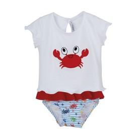 Conjunto playa bebé Calamaro con camiseta y braguita