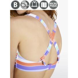 Bikini Ysabel Mora triángulo rayas lilas