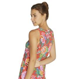 Vestido Ysabel Mora tirante ancho estampado tropical