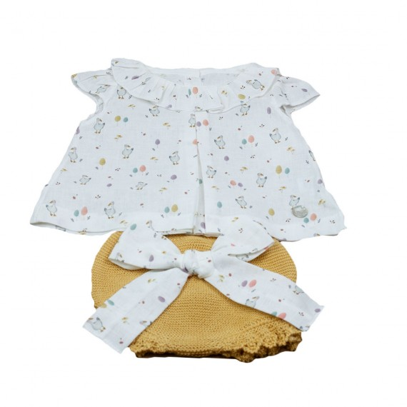 Conjunto Prim Baby blusa y braguita punto