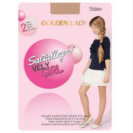 Media panty transparente  2 pares para niña Golden Lady