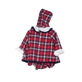 Vestido Rojo Baby-Ferr Bebé Navideño Cuadros 3 Piezas