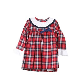 Vestido Rojo Navideño Baby-Ferr Cuadros Manga Larga