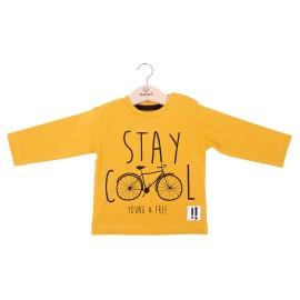 Camiseta Baby-Bol Niño Invierno Mostaza Bicicleta