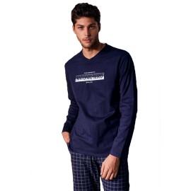 Pijama Hombre Antonio Miró Bolsillos Clásico Algodón