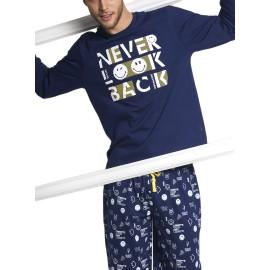 Pijama Smiley Hombre Invierno Bolsillos Algodón