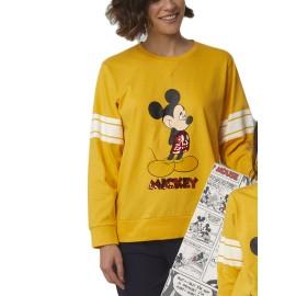 Pijama Mujer Mostaza Disney Algodón Lentejuelas